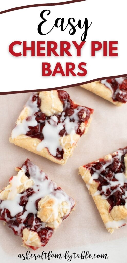 Pinterest graphic with text and cherry pie bars.