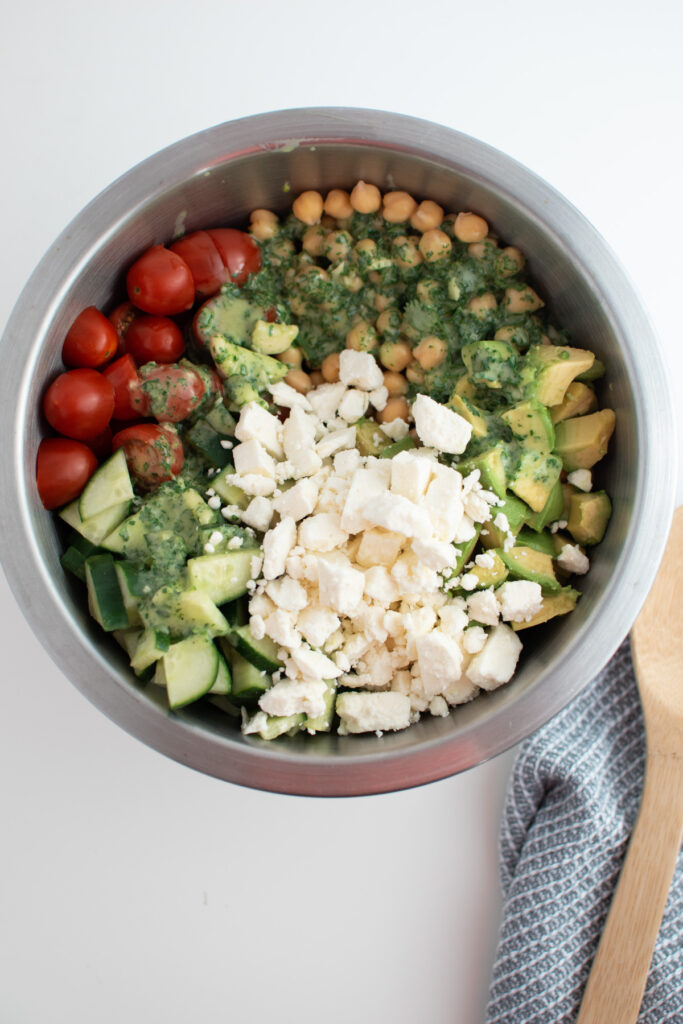 Feta cheese in chickpea salad.