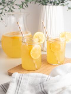 Meyer lemonade in glass cups.