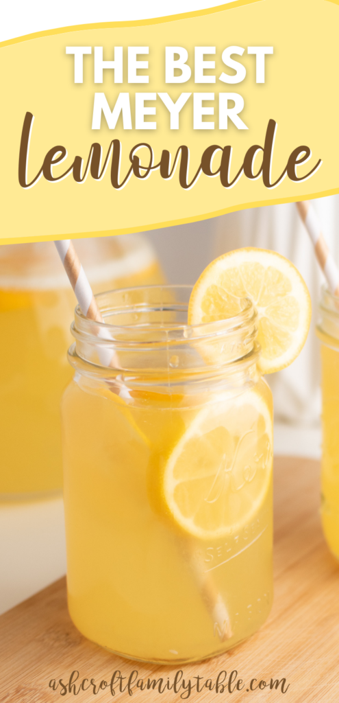 Pinterest graphic with text and glass of Meyer lemonade.
