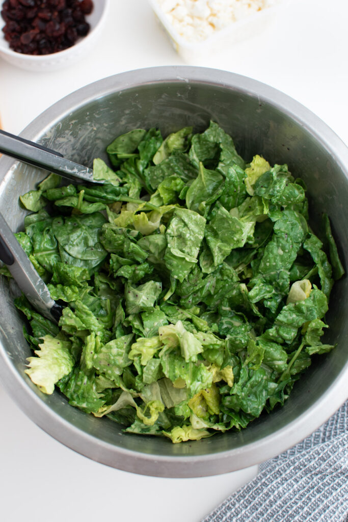 Bowl of lettuce and spinach covered in dressing.
