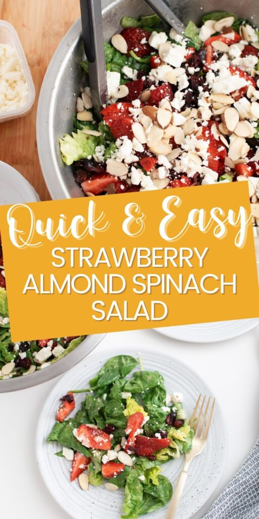 Pinterest graphic with text and collage of strawberry spinach salad.