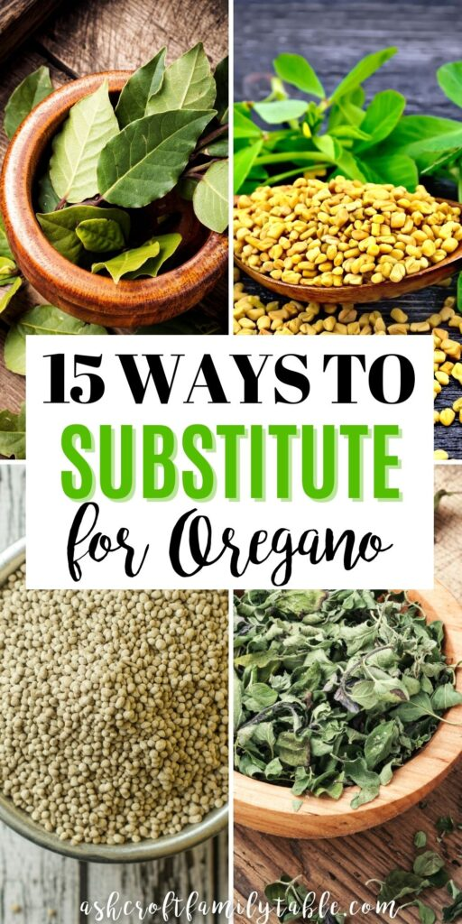 Pinterest graphic with text and collage of ingredients to substitute for oregano.