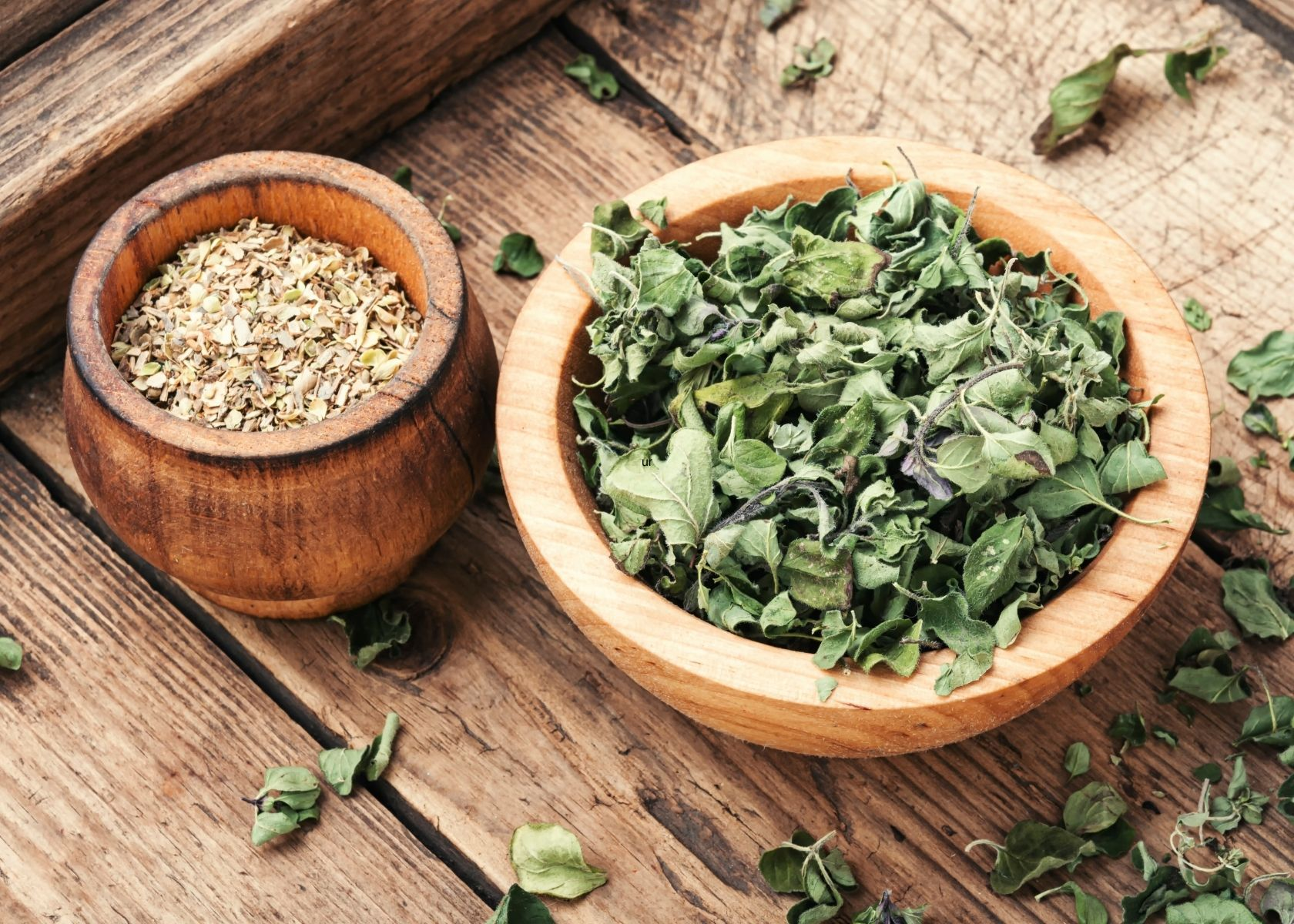 Wooden bowls of dried marjoram and oregano on wooden table.