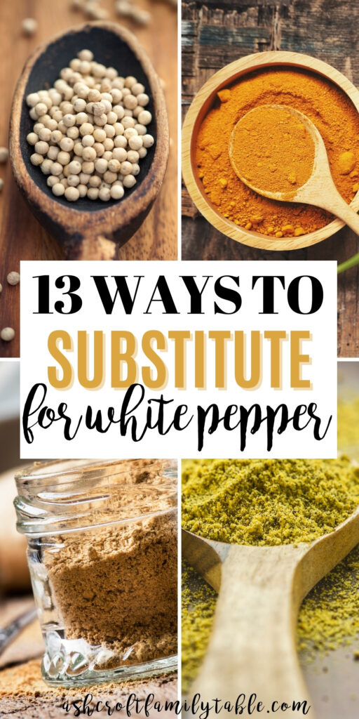 Pinterest graphic with text and collage of white pepper substitutes.