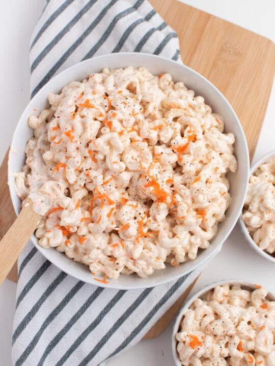 Bowl of Hawaiian macaroni salad.