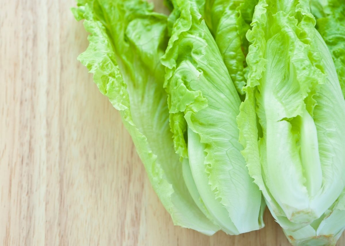 Two light green lettuce hearts sitting on a light wooden cutting board.