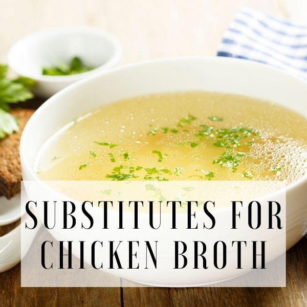 Graphic with bowl of chicken broth and text overlay.