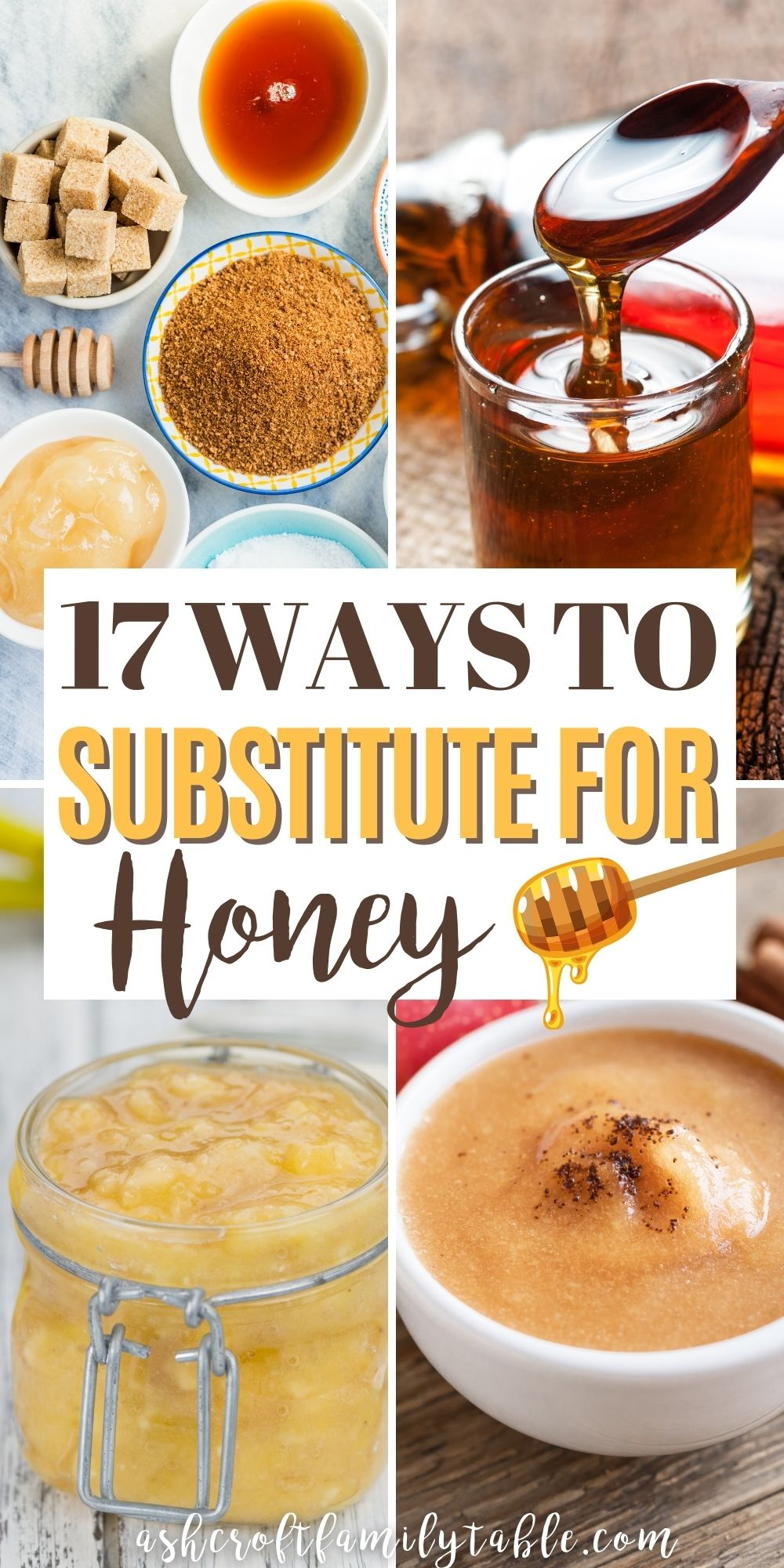 Pinterest graphic with text and collage of ingredients used to substitute for honey.