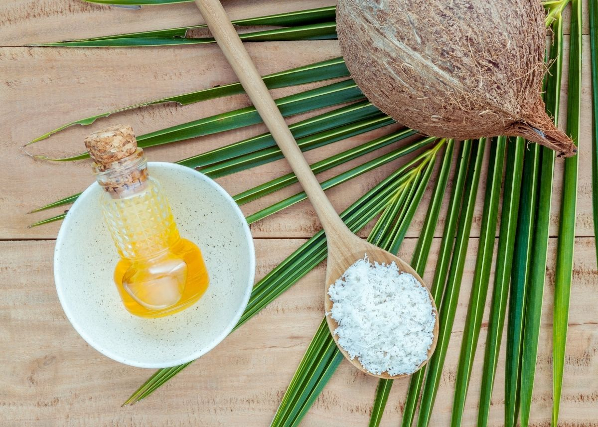 Small jar of coconut syrup next to a wooden spoon with sugar, a coconut, and palm frond.