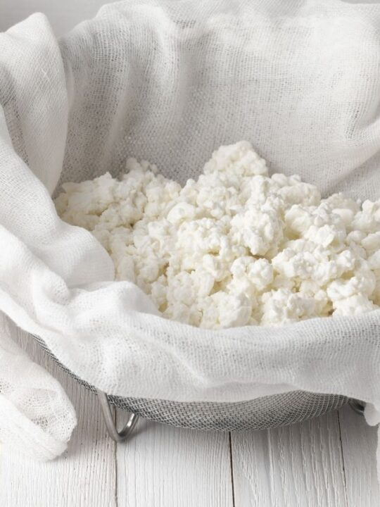 Cottage cheese drains on a cheese cloth inside a large kitchen sieve.