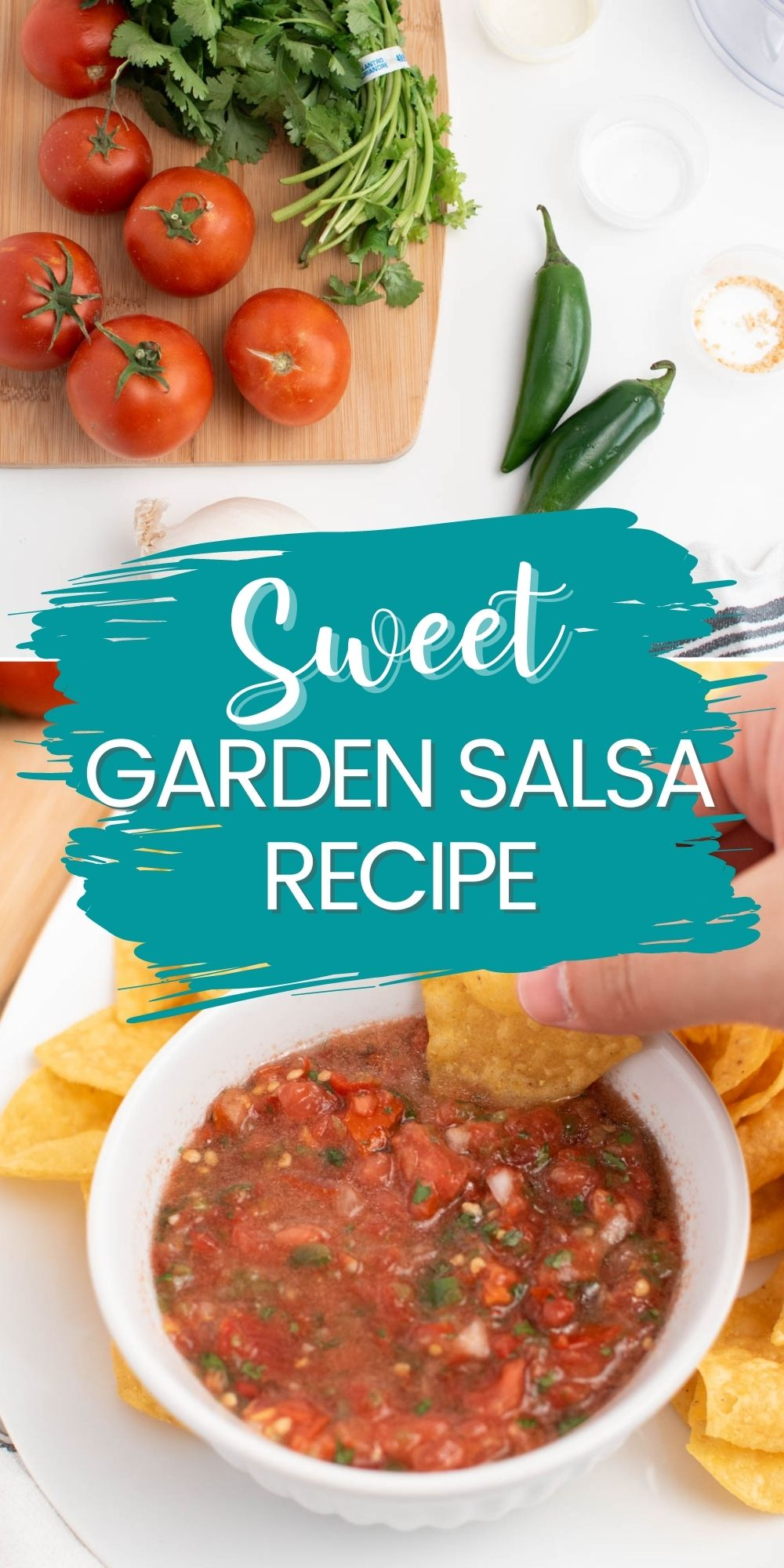 Pinterest graphic with text and collage of garden salsa process shots.