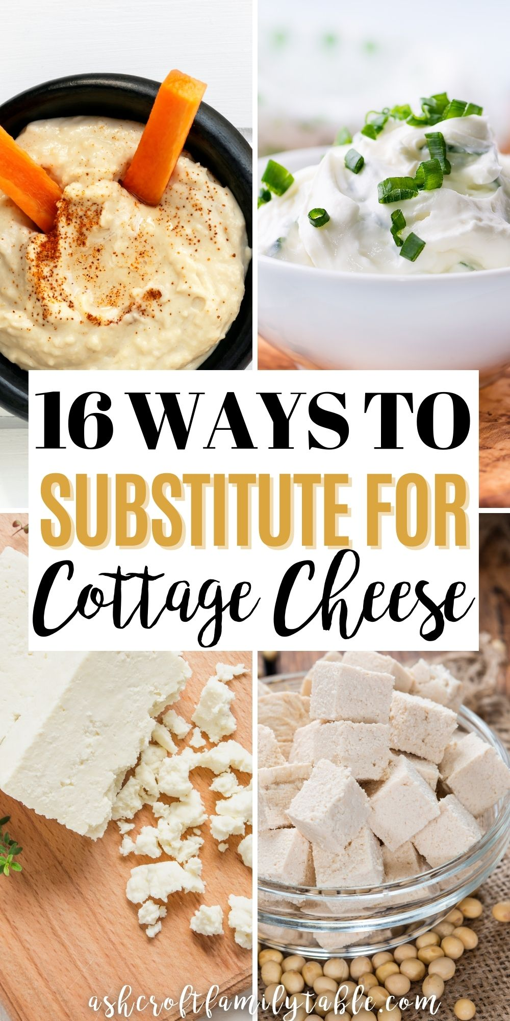 Pinterest graphic with text and collage of ingredients used to substitute for cottage cheese.
