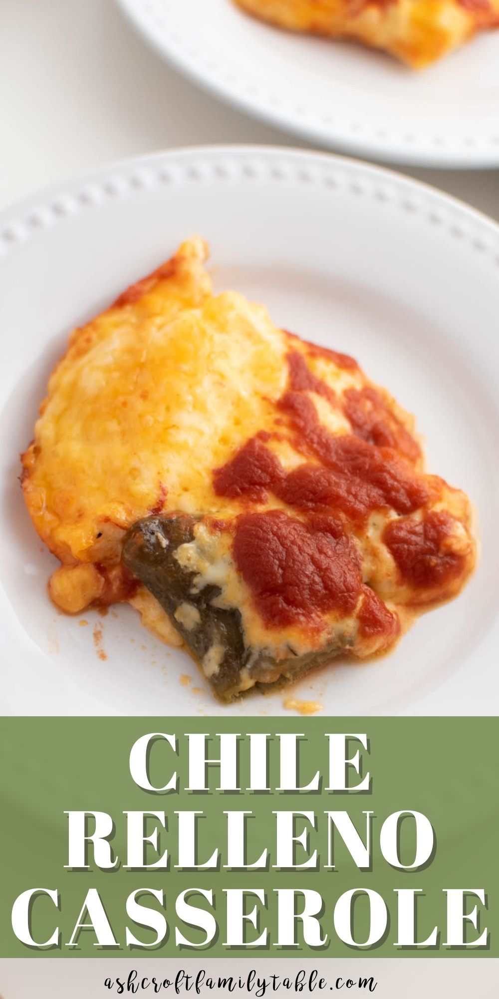 Pinterest graphic with text and plate of chile relleno casserole.